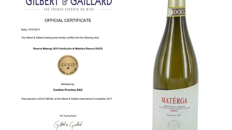 "Gold medal for the Verdicchio di Matelica Riserva DOCG ""Materga"" 2015"