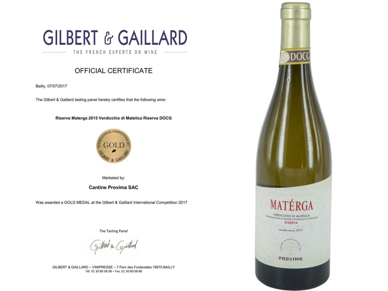 "Gold medal for the Verdicchio di Matelica Riserva DOCG ""Materga"" 2015"