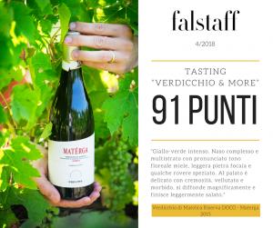 Il Verdicchio di Matelica Riserva Materga 2015 ottiene 91 punti da parte di Falstaff